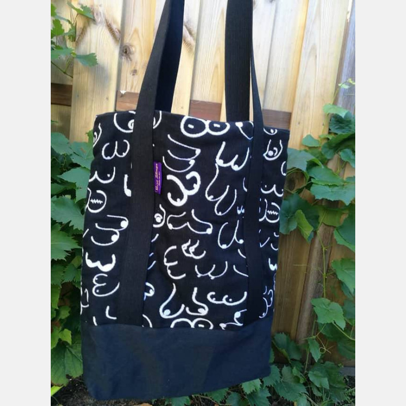 Yaro Tote Bag - Boobs Contra Black White