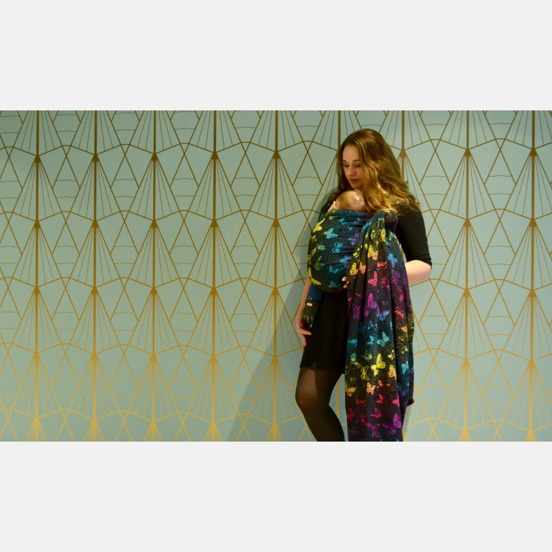 Yaro Woodland Duo Black Lights Rainbow Ring Sling