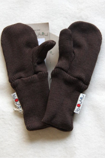 ManyMonths Wool Long Cuff Mittens Chocolate Brown