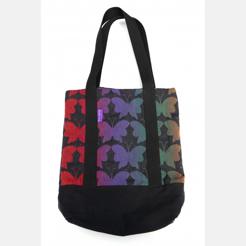 Yaro Tote Bag - Butterflies Contra Black Rainbow Confetti