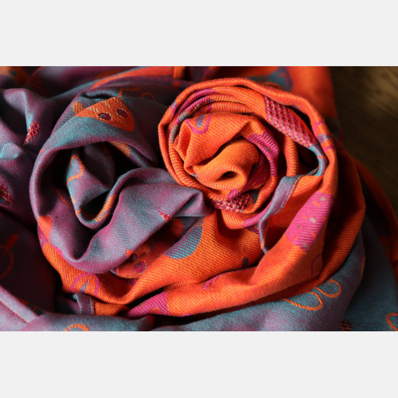 Yaro Cool Duo Fuchsia Orange Turkis Tencel Kapok Ring Sling
