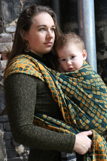 Yaro Oasis Puffy Grey Natural Bourette Glam Ring Sling